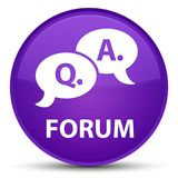 Forum (question answer bubble icon) special purple round button. Forum (question answer bubble icon) isolated on special purple round button abstract Royalty Free Stock Photography