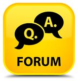 Forum (question answer bubble icon) special yellow square button. Forum (question answer bubble icon) isolated on special yellow square button abstract Stock Image