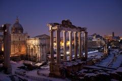 Forum romain dans la neige Images libres de droits