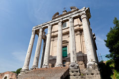 Forum Romanum. Temple of Antoninus and Faustina. The Roman Forum is located between the Palatine Hill and the Capitoline Hill of the city of Rome, Italy Royalty Free Stock Image