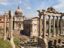 The Forum Romanum. The Forum in Rome, Italy, showing the ruins of several temples Stock Images