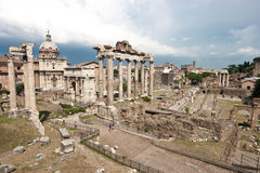 Forum Romanum. View of the Forum Romanum ruins and the Arch of Septimius Severus Royalty Free Stock Image