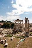 Forum Romanum. Image of the Forum Romanum, a small rectangular piazza surrounded pe Goverment buildings in ancient Roman times, showing the ruins of the Temple stock images
