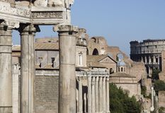 Forum Romanum. The Forum Romanum in Rome with the Colosseum in the background Stock Image
