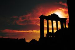 Forum Romanum. A sunset at the Forum Romanum in Rome, Italy Royalty Free Stock Photo
