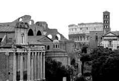 Forum Romanum and Colosseum, isolated. Forum Romanum and Colosseum, black and white and isolated Royalty Free Stock Image