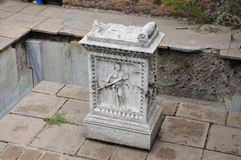 Roman Forum. Forum Romanum: detail of stone relief royalty free stock photography