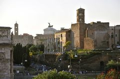 Roman Forum North. Forum Romanum, facing North: Arch of Constantine, Via Sacra, Temple of Venus and Rome Stock Image