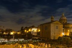 Forum Romanum at night Stock Photos
