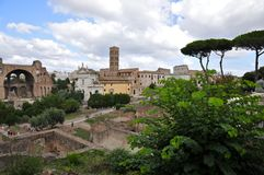 Roman Forum. Forum Romanum: Overview from palatine Hill facing S-E Royalty Free Stock Image