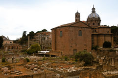 Forum Romanum. The Roman Forum,: Forum Romanum,  with its  ruins of several important ancient government buildings at the center of the city of Rome. It is Royalty Free Stock Image