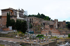 Forum Romanum. The Roman Forum,: Forum Romanum,  with its  ruins of several important ancient government buildings at the center of the city of Rome. It is Stock Images