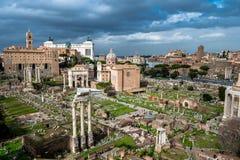 Forum Romanum in Rome in Italy. Ancient Forum Romanum in Rome in Italy at sunny weather royalty free stock images