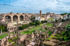 Forum Romanum in Rome in Italy. Ancient Forum Romanum in Rome in Italy at sunny weather stock images