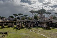 Forum Romanum in Rome in Italy. Ancient Forum Romanum in Rome in Italy at sunny weather stock photo