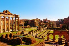 Forum Romanum, Rome. Overview of the Forum Romanum in Rome Royalty Free Stock Image