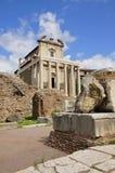 Roman Forum. Forum Romanum: Temple of Antoninus and Faustina, from Via Sacra portrait mode Stock Images
