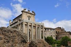 Roman Forum. Forum Romanum: Temple of Antoninus and Faustina, from Via Sacra Royalty Free Stock Photography