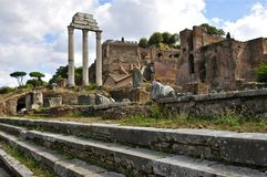 Roman Forum. Forum Romanum, Temple of Castor and Pollux, and Palatine Hill Royalty Free Stock Images