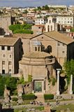Roman Forum. Forum Romanum: Temple of Romulus, from Palatine Hill, in portrait mode Royalty Free Stock Photography