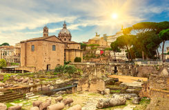 Forum Romanum and Temple of Saturn in Rome Stock Image