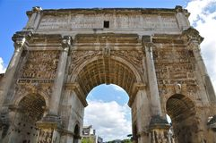 Roman Forum. Forum Romanum: Triumphal Arch of Septimius Severus, next to the spot of the Umbilicus Urbi: the symbolic centre of the city from which and to which Stock Photography