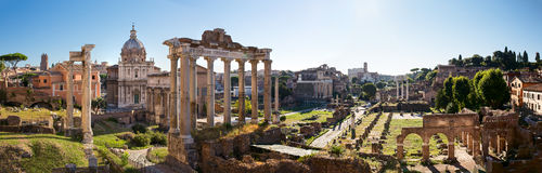Forum Romanum view from the Capitoline Hill in Italy, Rome. Panorama Stock Image