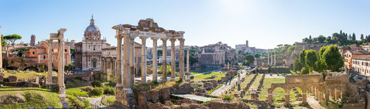 Forum Romanum view from the Capitoline Hill in Italy, Rome. Panorama Stock Photography