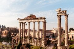 Forum Romanum. View on the Forum Romanum in the Morning Hours Stock Images