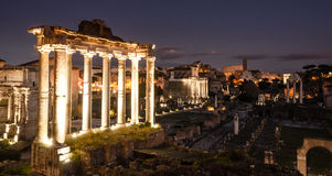 Forum romanun at night. Picture from above Stock Photo