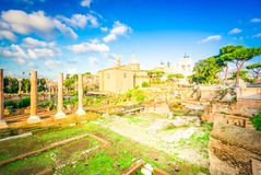 Forum - romaren f?rd?rvar i Rome, Italien arkivfoto