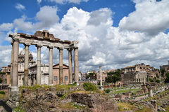 The Forum, Rome, Italy. With a dramatic backdrop of clouds Stock Photos