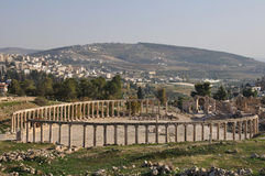 Forum ruins in Jerash, Jordan Stock Image