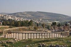 Forum ruins in Jerash, Jordan. Ruins of Jerash are one of Jordan's major tourism attractions Stock Image