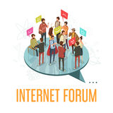 Forum Society Concept. Internet forum society with communicating people concept isometric vector illustration Royalty Free Stock Images