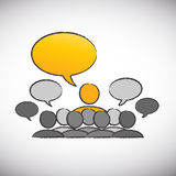 Forum speaker with speech bubbles. Concept abstract background stock illustration