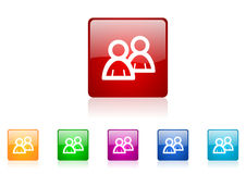 Forum square web glossy icon Stock Images