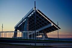 Forum at sunset. Barcelona's Forum's Solar Panels construction against sunset Stock Photography