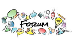 Forum title isolated on a background and surounded by multimedia Royalty Free Stock Image