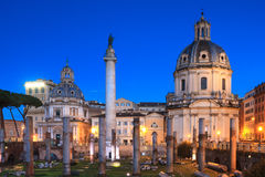 Forum of Trajan during the blue hour Royalty Free Stock Image