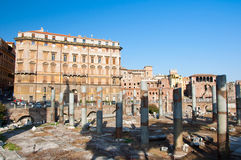The forum of Trajan and the detail of the Trajan's market. Rome, Italy. Royalty Free Stock Photo