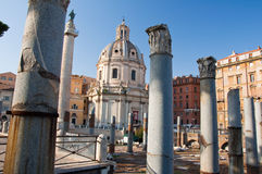 The forum of Trajan and the detail of the Trajan's market. Rome, Italy. Stock Photos