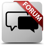Forum white square button red ribbon in corner. Forum isolated on white square button with red ribbon in corner abstract illustration Stock Image