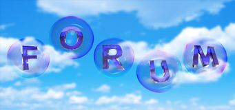 The forum word in bubble. The forum word in soap bubble on blue sky background,3d rendered Royalty Free Stock Photography