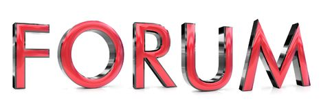 Forum 3d word. The forum word 3d rendered red and gray metallic color , isolated on white background Royalty Free Stock Photos