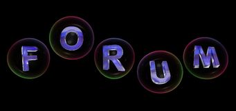 The forum word in bubble. The forum word in soap bubble on black background,3d rendered Royalty Free Stock Photo