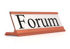 Forum word on table tag Stock Photos