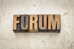 Forum word in wood type Royalty Free Stock Photos