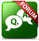 Forumfrage-antwortblasenikonengrün-Quadratknopf Lizenzfreie Stockfotografie