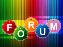 Forums Forum Means Social Media And Site. Forums Forum Showing Social Media And Symposium Royalty Free Stock Photo
